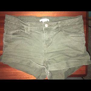 High rise green shorts
